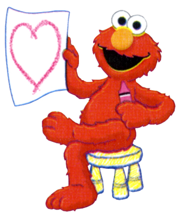 elmo cartoon with heart