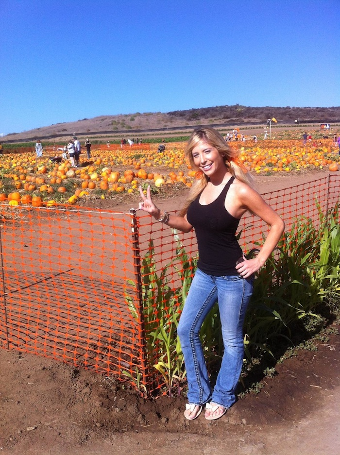 tasha in a pumpkin patch